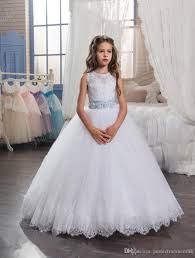 kids wedding dresses 2017 with tiered skirt and beaded belt