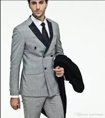 Light Grey 2 Piece Suit Light Grey Men Wedding Tuxedos Double Breasted Groom Tuxedos Excellent Men Blazer Suit Prom Dinner Jacketjacket Pants Tie 2560 Formal Wear Mens Suit