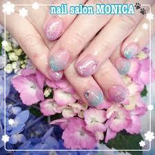 夏梅雨ハンドグラデーションラメ Nail Salon Monica のネイル