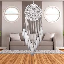 universal white handmade dream catcher feather bead home car wall hanging decor 31 5