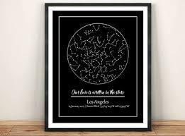 Star Chart Of A Certain Date Custom Night Sky Wedding Custom Star Map Printable Our First