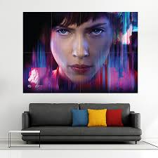 on giant wall poster art print with ghost in the shell scarlett johansson block giant wall art poster