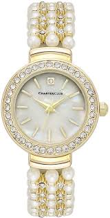 Charte Club Women Crystal Gold Tone Imitation Pearl Bracelet Watch 28mm
