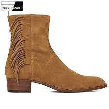 runway mens winter cowhide real leather chelsea boots slip on block heels tassels riding shoes ankle suede leather boots