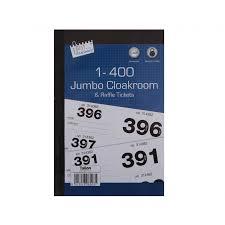 Raffle Ticket Booklets Jumbo Cloakroom Raffle Tickets 1 400