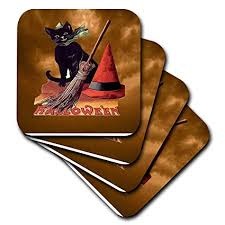 vintage halloween black cat. Perfect Cat 3dRose Vintage Halloween Black Cat  Soft Coasters Set Of 4 Cst_6190_1 Intended O