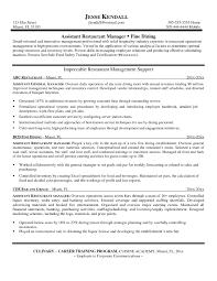 Restaurant Supervisor Job Description Resume Resume Bullet Points