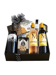 black white wine at home gift basket with monarch 2017 syrah somersville cellars