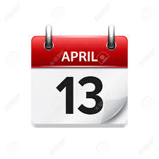 Daily Calander April 13 Vector Flat Daily Calendar Icon Date And Time Day