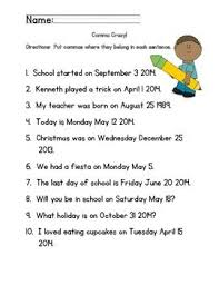 when is a comma used here is a sheet for scholars to practice comma use in dates