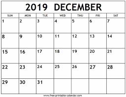 December 2019 Calendar Free Printable Calendar Com