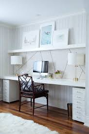 wall desks home office. chic home office features a wall clad in thibaut ikat wallpaper lined with to desks b