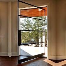 spd01 modern custom made pivot door black framed steel