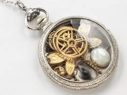 steampunk necklace pocket watch case 14k white gold filled gears dragonfly pendant genuine opal locket statement necklace