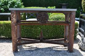 dsc bluestone console table rustic aged metal and me gardens long modern white deep bar steel short iron coffee mid century black demilune fossil stone