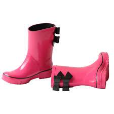 Pluie Pluie Girls Fuchsia Black Double Bow Rain Boots 5 10 Toddler