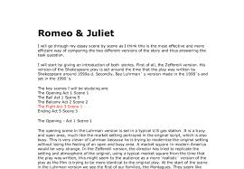 comparing two versions of romeo juliet zefferelli and baz  document image preview