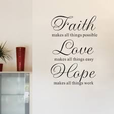 Faith And Love Quotes Simple Faith Love Hope Inspirational Vinyl Wall Stickers Quotes For Living