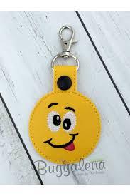 Emoji Embroidery Designs Silly Emoji Snap Tab Key Fob Embroidery Design