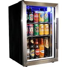 glass front mini fridge 148 can door refrigerator stainless steel beverage cooler