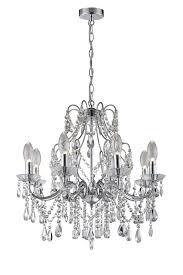 annalee 8 light crystal chandelier chrome