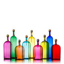 image of small bright glass bottles