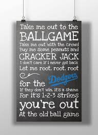 los angeles dodgers take me out to the ballgame chalkboard print