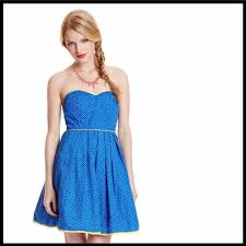 Blue Multi Strapless A Line Retro Short Casual Dress Size 4 S 52 Off Retail