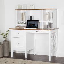 white wooden writing desk with hutch and brown top completed by drawers on the floor