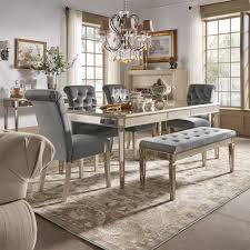 Clara Silver Velvet and Antique Gold Mirrored Dining Set by iNSPIRE Q Bold  - Free Shipping Today - Overstock.com - 24171276