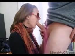 Hot mom gives son a blowjob