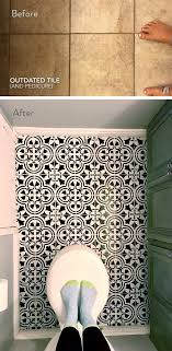 floor tile paint job in pretty pattern