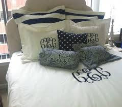 outstanding monogrammed bedding set and bolster pillows with upholstered headboard for bedroom