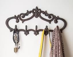 Cast Iron Wall Hanger  Vintage Design with 5 Hooks - Keys, Towels, etc