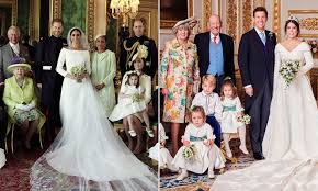 The former suits actress, who wed harry in may, showed up to the chapel in a loose blue coat, fanning the flames of her pregnancy rumors. Prince Harry And Princess Eugenie S Wedding Portraits Compared Daily Mail Online