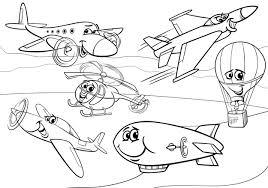 Vliegtuigen Vliegtuigen Groep Kleurplaat Vector Premium Download