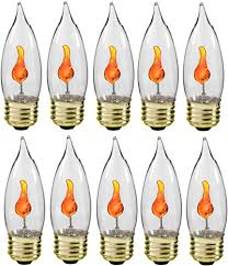 packed 10 bulbs each individually boxed inside a strong box for safe delivery these flicker flame candelabra base bulbs have an orange glow
