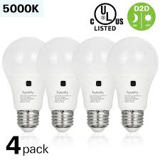 New Leaf Light Bulbs Hykolity 4 Pack 9w A19 Dusk To Dawn Led 60w Replacement 800lm 5000k Daylight Ul