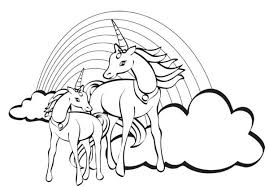 Small Picture Two Unicorn with a Rainbow at Their Back Coloring Page Download