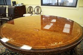 luxurious inch round walnut and pearl inlaid dining