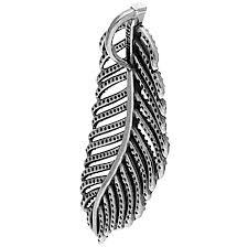 pandora silver feather micro cz pave pendant bb06