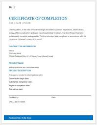 Completion Certificate Sample Work Completion Certificate Format In Word Under Fontanacountryinn Com