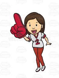 fan clipart. female sports fan holding a #1 foam finger and wearing team jersey clipart