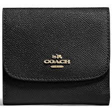 Coach Small Wallet In Crossgrain Leather Black   F87588 + Gift Receipt