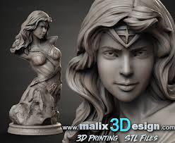 Stl File Designer Wonder Woman Bust Stl File For 3d Printing