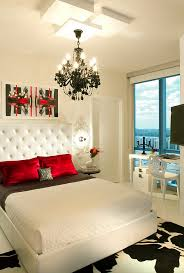 view in gallery palette of black white and red in the stunning miami bedroom