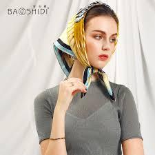 Designer Head Scarf Us 16 59 42 Off Baoshidi 2018 Spring Designer Scarf 100 Silk Scarf Women Luxury Brand Pure Silk Handkerchief Fashion Lady Silk Headscarf In