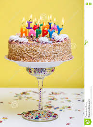Birthday Cake With Colorful Happy Birthday Candles Stock Photo
