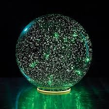 lighted mercury glass sphere green