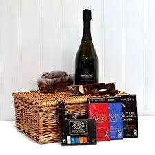 prosecco chocolate gift her luxury wicker gift basket with 750ml di maria prosecco